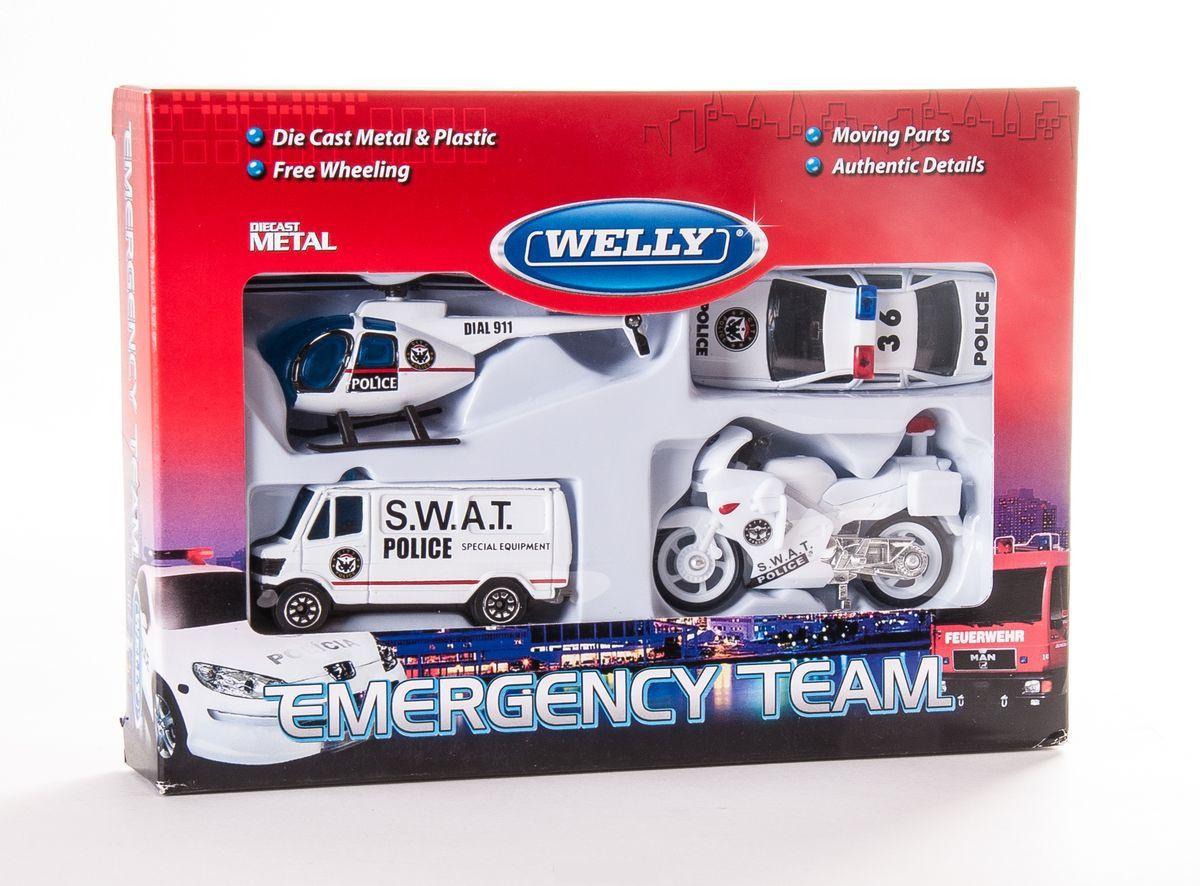 """Welly Набор """"Служба спасения - полиция"""" из 4 машин"""
