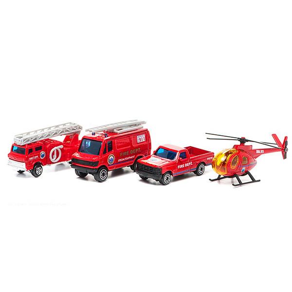 "Welly Набор ""Служба спасения - пожарная команда"" из 4 машин"