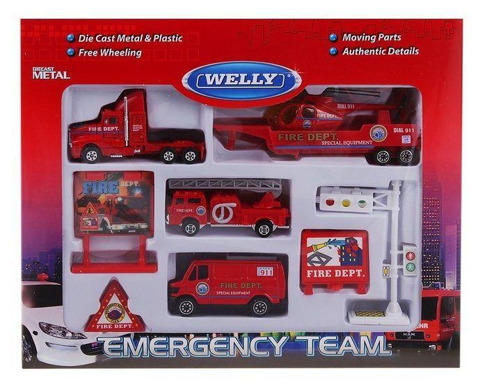 "Welly Набор ""Служба спасения - пожарная охрана"" из 9 машин"