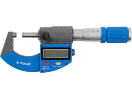 Микрометр гладкий цифровой Зубр  (МКЦ 25, диапазон 0-25мм, шаг 0,001мм)