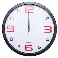 Часы настенные, d-30см, круглые с красными цифрами, пластик/стекло
