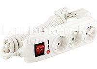 Удлинитель с заземлением, выключателем и шторками 3 розетки 3х1,5 мм, 2 метра 16A STERN 95741 (002)