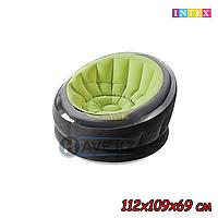 Надувное Кресло INTEX 68582NP, 68581, черно-зеленый, размер 112х109х69 см