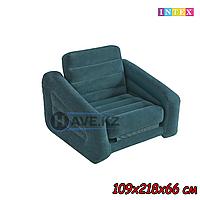 Надувное кресло-кровать INTEX 68565 - 109х218х66 см, темно-зеленый