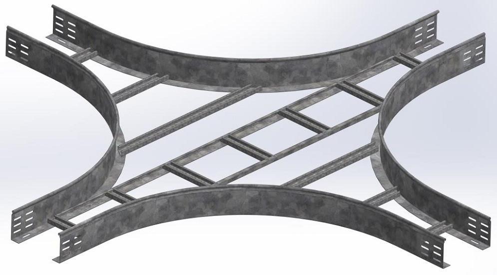 Крестообразный разветвитель для лестничного лотка НЛО 400х80х3000 (радиус поворота 600 мм)