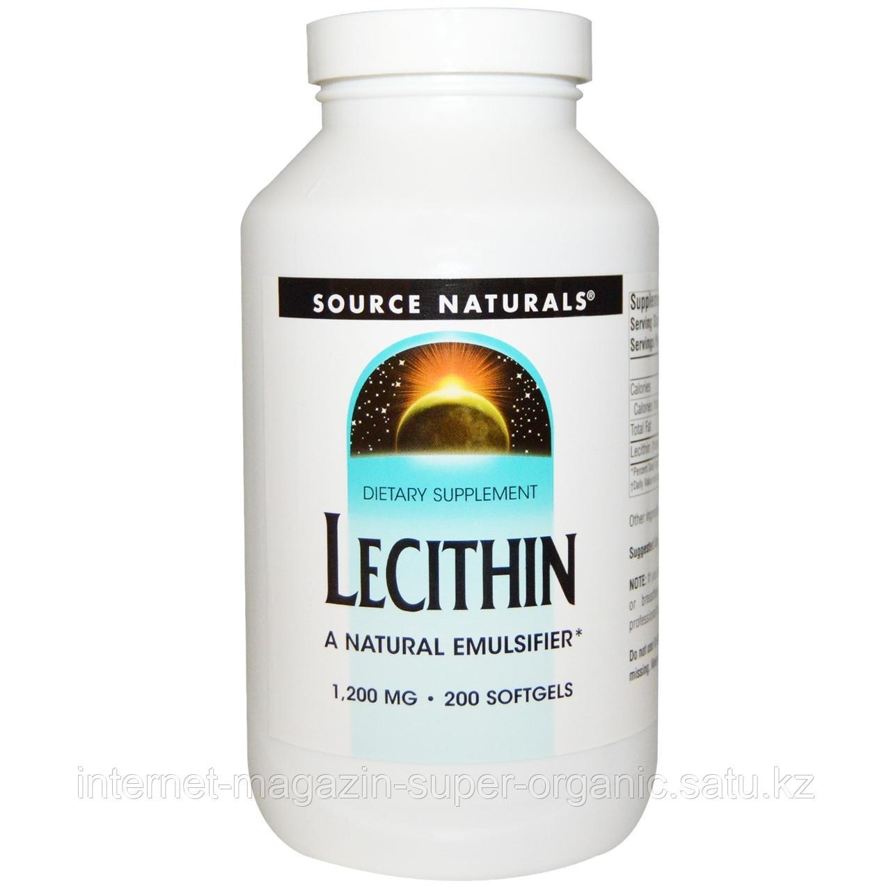 Лецитин, 200 гелевых капсул, Source Naturals