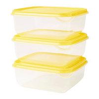 Контейнер ПРУТА 3 шт. прозрачный желтый ИКЕА, IKEA, фото 1