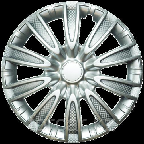 Колпак колесный 14 ТОРНАДО серебристый карбон (4 шт.)