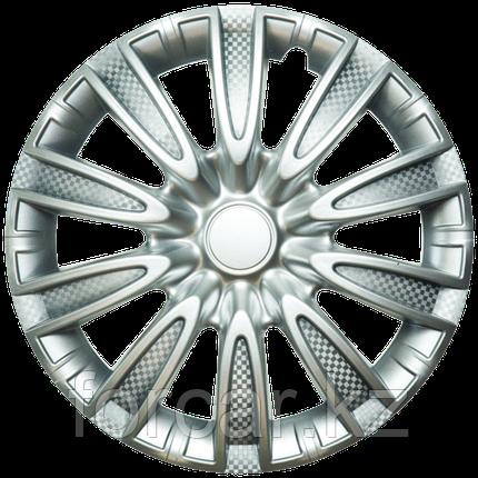 Колпак колесный 14 ТОРНАДО серебристый карбон (4 шт.), фото 2