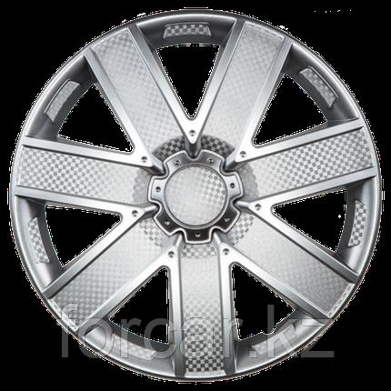Колпак колесный 16 ГАЛАКСИ серебристый карбон (4 шт.), фото 2