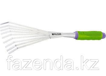 Грабли веерные 9-зубые, обрезная рукоятка, может использоваться в сборе с ручкой