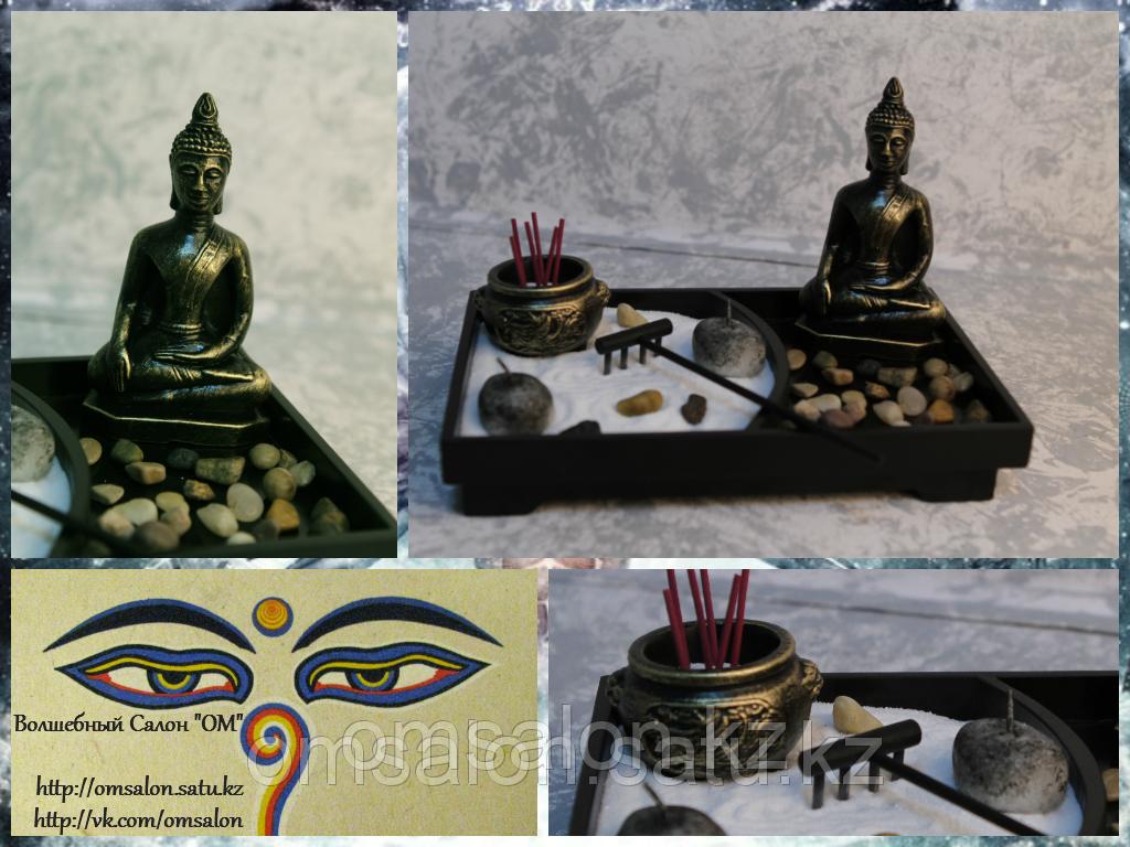 Подсвечник + Подставка под благовония Будда с чашей достатка
