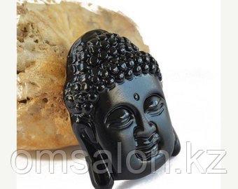 Амулет оберег из черного обсидиана Голова Будды