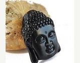 Амулет оберег из черного обсидиана Голова Будды, фото 2