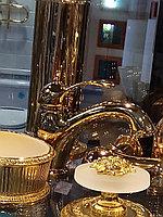 Смеситель на раковину золото, фото 1