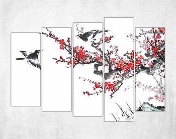 Модульная картина - Сакура и птицы