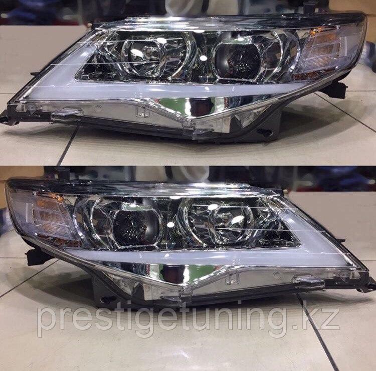 Передние фары на Camry V50 2011-14 USA Lexus style (хром)