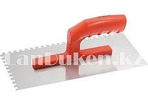 Гладилка зубчатая из стали с пластиковой ручкой и зеркальной полировкой 28х13 см MATRIX 86775 (002)