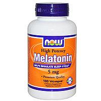 Now Foods, Мелатонин, высокая эффективность, 5 мг, 180 капсул в растительной оболочке.