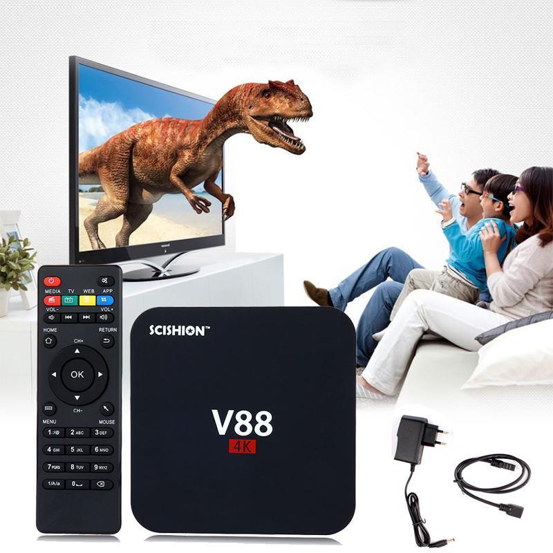 Smart Android TV Box V88 4K - мощный медиаплеер для ТВ, RK3229, 4 ядра, 8Gb, Wi-FI,