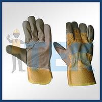 Перчатки кожаные комбинированные,Строительные, рабочие перчатки, рукавицы оптом в Алматы