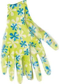 Перчатки садовые из полиэстера с нитриловым обливом, зеленые