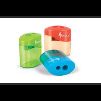 Точилка пластиковая, двойная, с контейнером