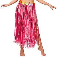Юбка гавайская с цветами 59 см (розовая)