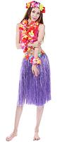 Юбка гавайская с цветами 59 см (фиолетовая)