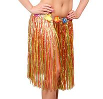 Юбка гавайская с цветами 59 см (разноцветная)