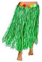 Юбка гавайская с цветами 59 см (зеленая)