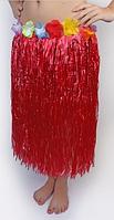 Юбка гавайская с цветами 59 см (красная)