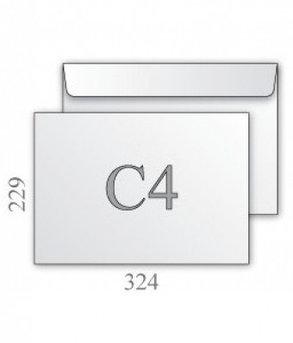 Конверты С-4 229*324 белый, 100гр, отрывная лента, тангир, клапан по короткой стороне