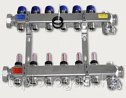 Коллектор для теплого пола Maincor (гребенка) 2 контура, с расходомерами, без фитингов