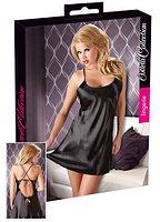 Сатиновая сорочка чёрная (XXL) - Cotelli Collection (пр. Германия)