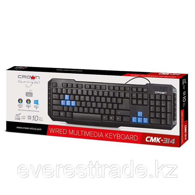 Клавиатура проводная Crown CMK-314 USB мультимедийная
