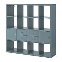 Стеллаж с 4 вставками КАЛЛАКС глянцевый серо-бирюзовый ИКЕА, IKEA