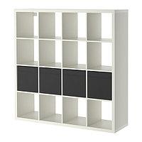 Стеллаж с 4 вставками КАЛЛАКС белый, черный 147x147 см ИКЕА, IKEA, фото 1