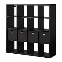 Стеллаж с 4 вставками КАЛЛАКС черно-коричневый ИКЕА, IKEA, фото 1