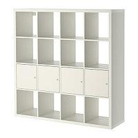 Стеллаж 4 вставки с дверцами КАЛЛАКС белый ИКЕА, IKEA