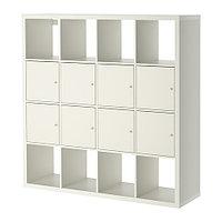 Стеллаж КАЛЛАКС 8 вставок с дверцами белый ИКЕА, IKEA, фото 1