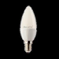 Светодиодная лампа ТМ Tecata Е14 6Вт 3000К свеча матовая