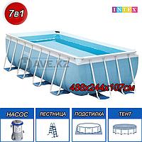 Прямоугольный каркасный бассейн Intex 28318, Ultra Frame Pool, размер  488x244x107 см, фото 1