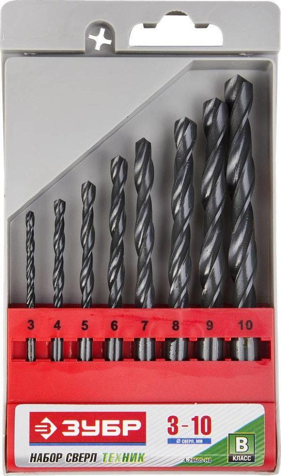 """(4-29605-H8) Набор ЗУБР """"ТЕХНИК"""": Свёрла по металлу парооксидированные, быстрорежущая сталь,3-10мм,"""