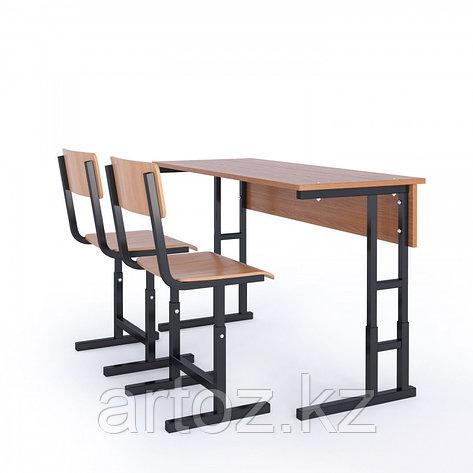 Парта школьная 2-х местная+ 2 стула (с регулировкой), фото 2