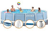Бассейн каркасный 457х107 см, V-14614л, Intex Metal Frame Pool 28234/28734 фильтр, лестница в комплекте, фото 1