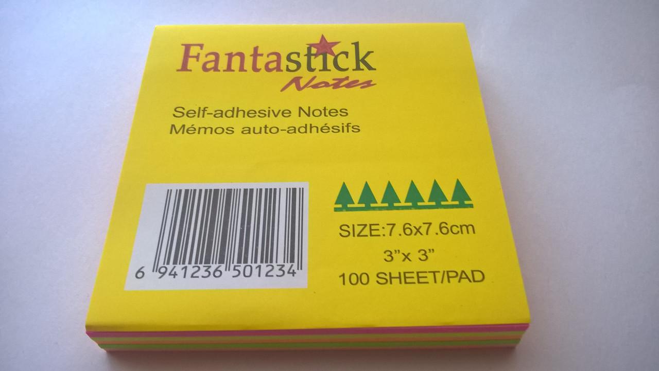 Клейкие листики для заметок, неоновые, 7,5 х 7,5, 100листов