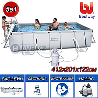 "Каркасный бассейн Bestway 56457,56244 ""Steel Pro Frame Pool"" размер 412x201x122 см, фото 1"