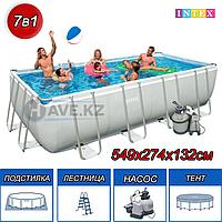 Каркасный бассейн Intex 26356NP, 28352, 26356, Rectangular Ultra Frame Pool , размер 549 х 274 х 132 см, фото 1