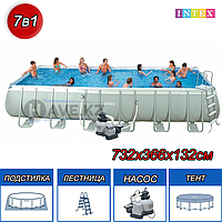 Каркасный бассейн Intex 28362,26364, Ultra Frame Rectangular Pool, размер 732x366x132 см, фото 1